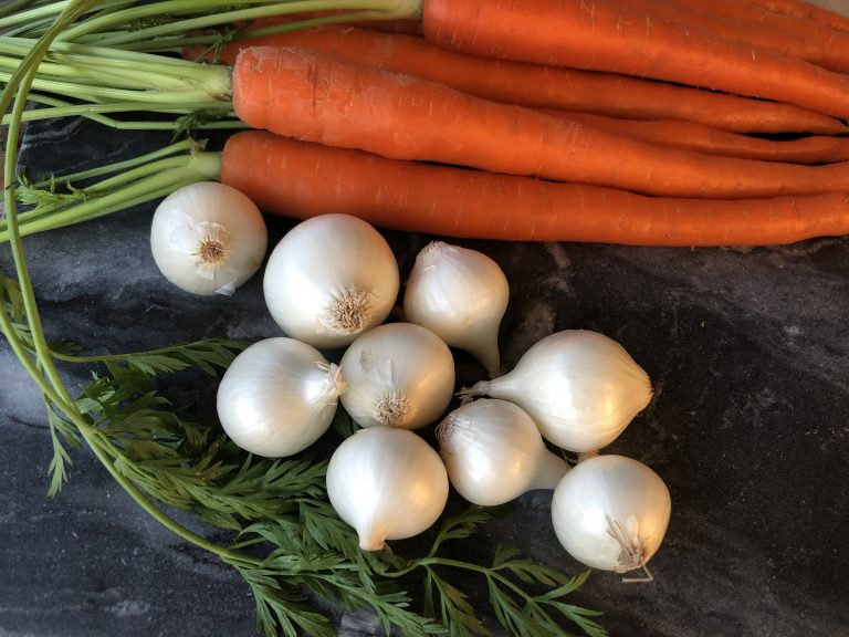 fresh carrots and boiling onions for winter stew