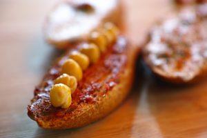 Garbanzo beans on bread